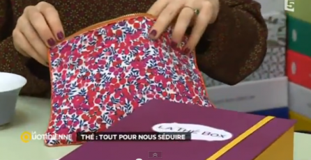 LA QUOTIDIENNE-TV-FRANCE 5-pochette-tiliah-design-liberty-imprimée-thé-14:03:2014 P2
